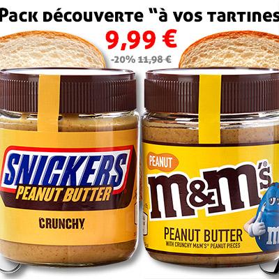 "Pack ""à vos tartines"" Snickers & M&M's (2 x 225g)"