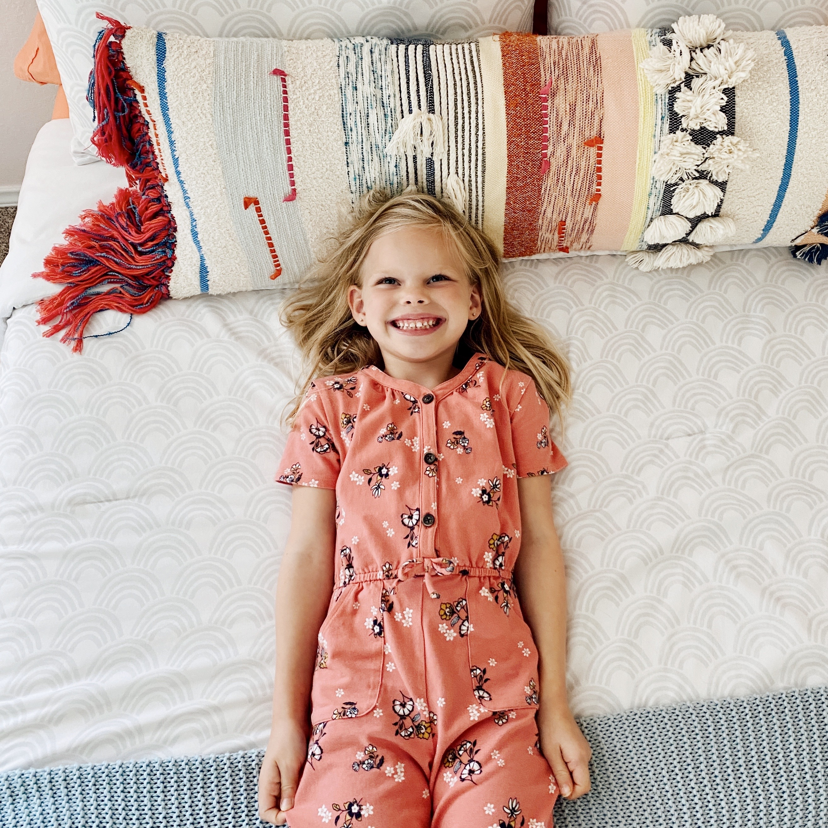 chris's daughter annabelle smiling in bed