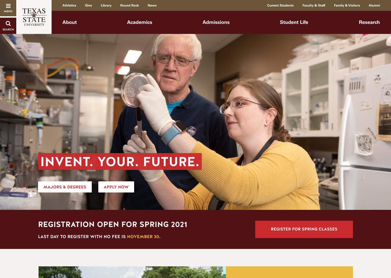 texas state university homepage at desktop few