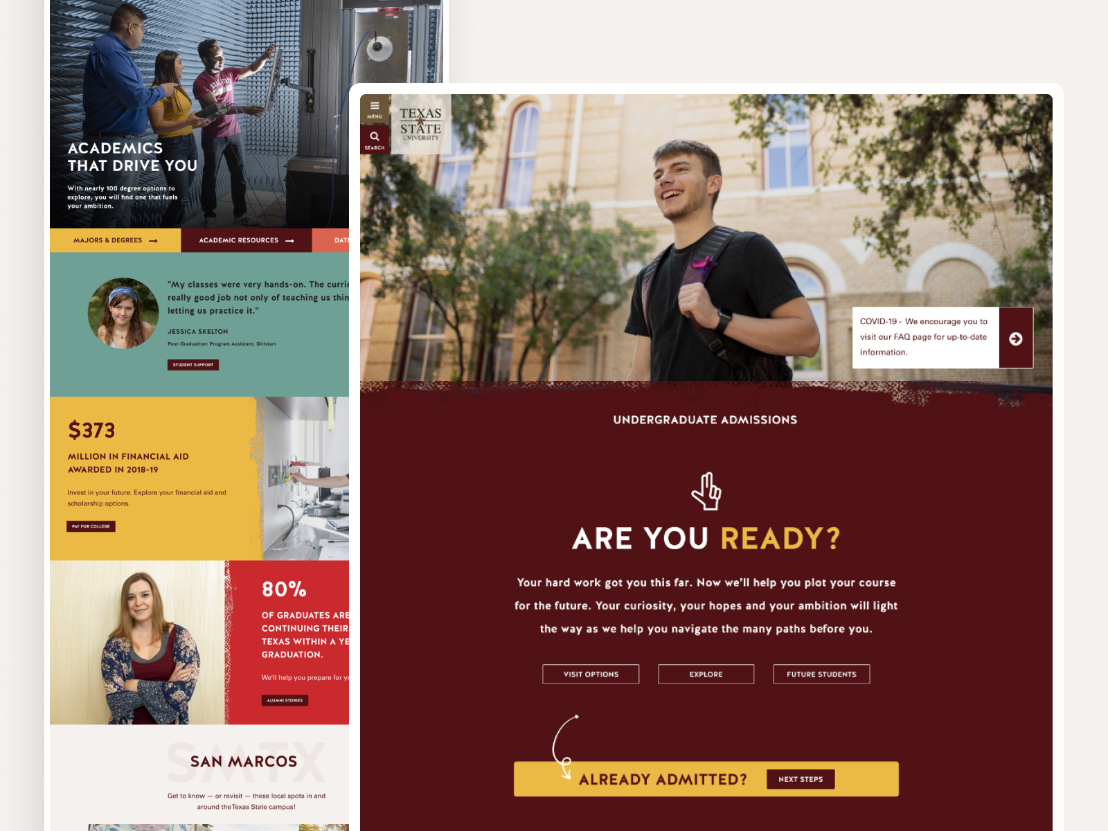 Texas State admissions website mockup screens
