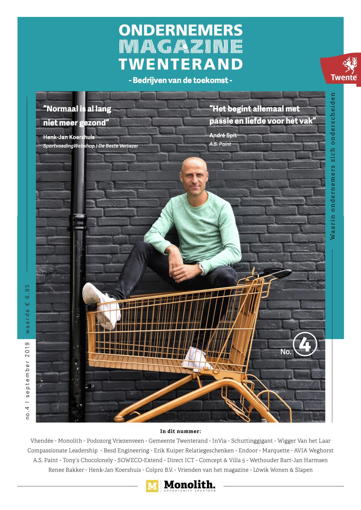 Cover ondernemersmagazine Twenterand 4 met Henk Jan Koershuis op de cover