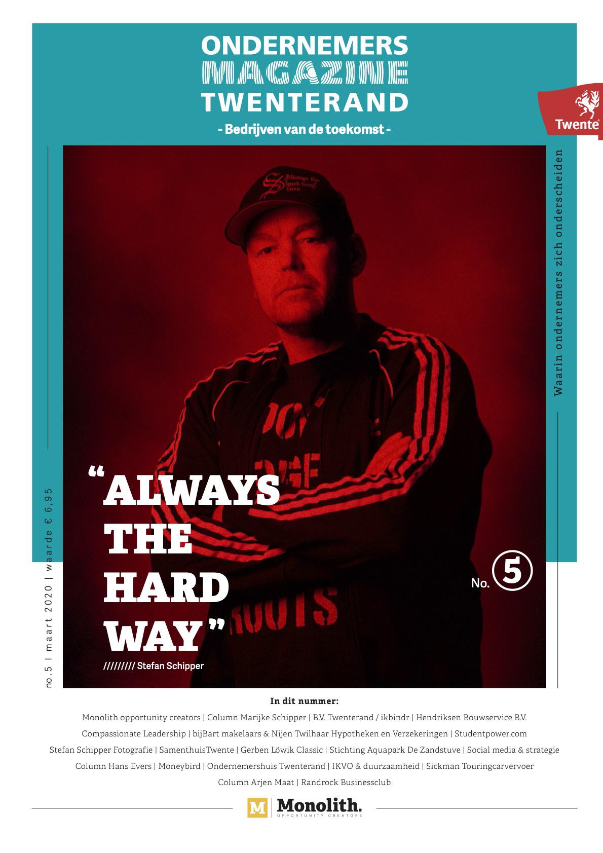 Cover ondernemersmagazine Twenterand 5 met Stefan Schipper op de voorkant.