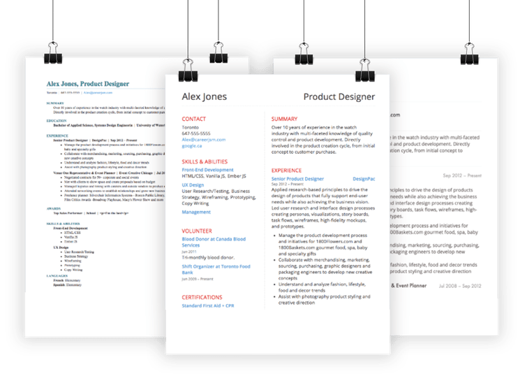 Examples of resumes built with Thrive's resume builder