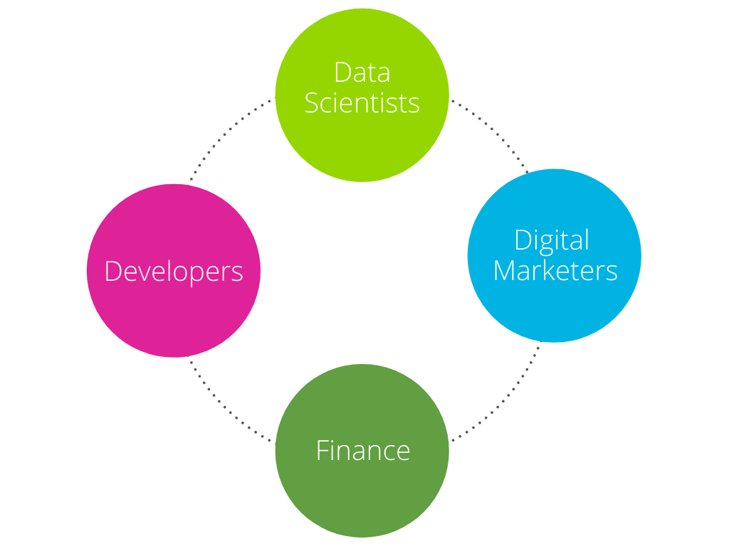 Our Team: Data Scientists, Digital Marketers, Developers, Finance