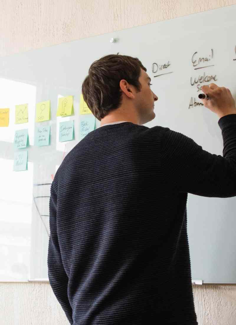 Cross-channel marketing plans at the whiteboard