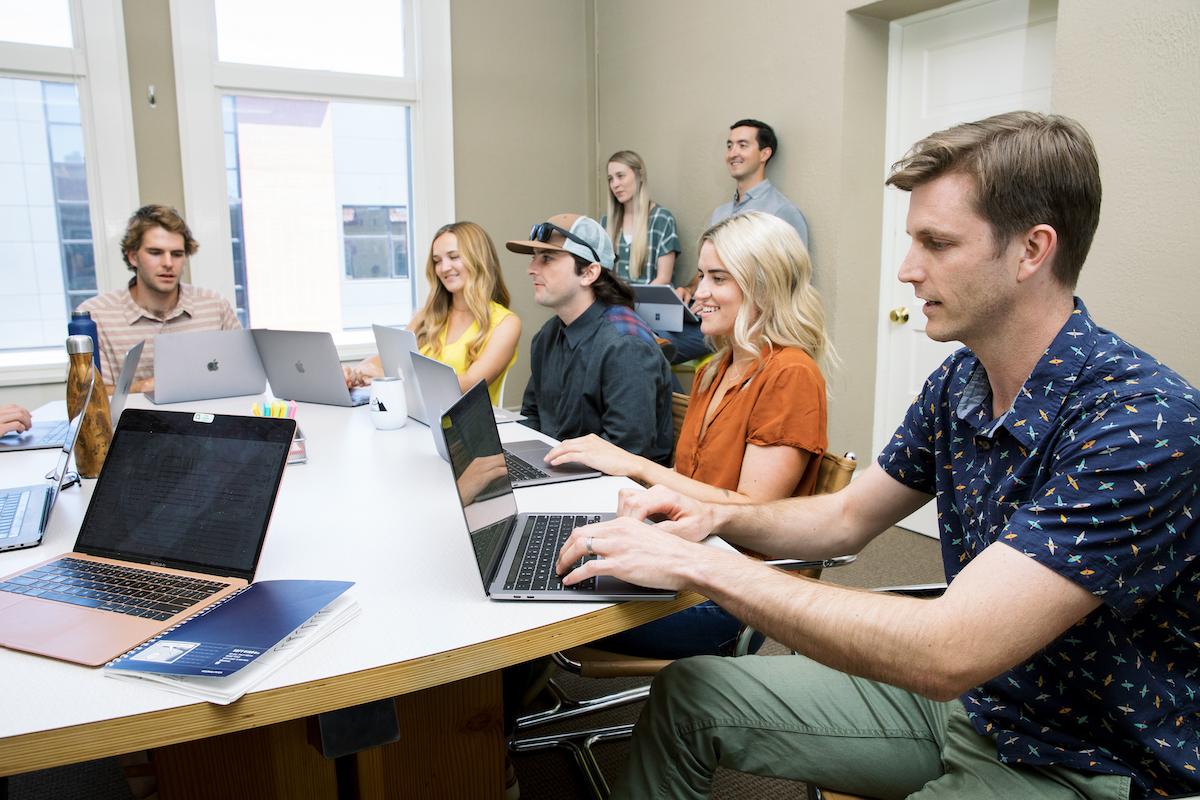 Team working on digital marketing project