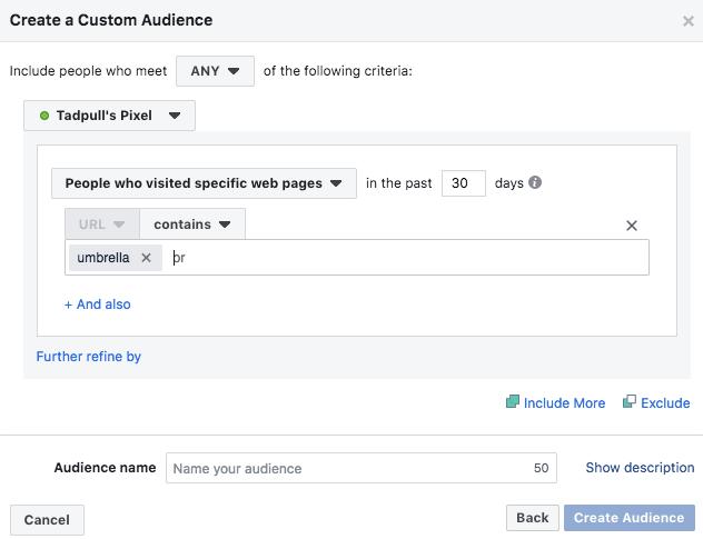 Facebook pixel fire targeting a