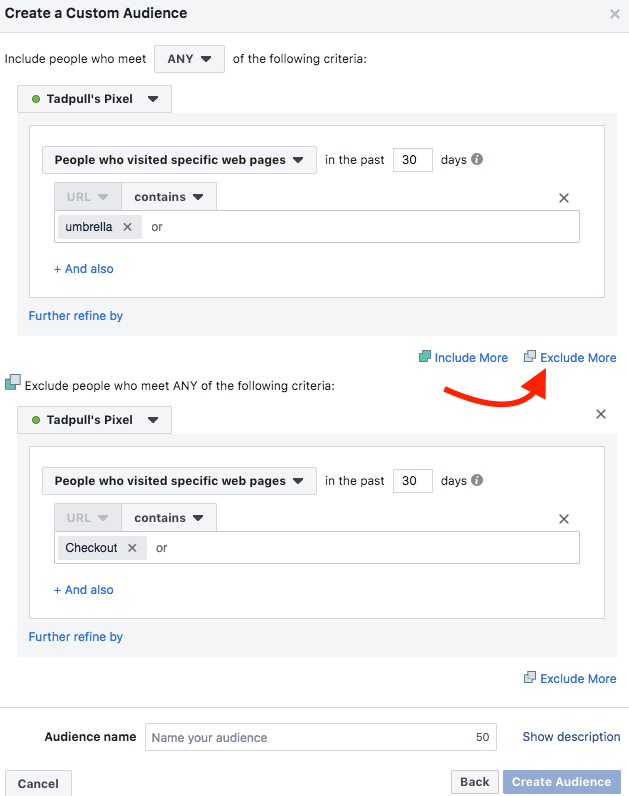 Creating Facebook ads pixel custom audiences