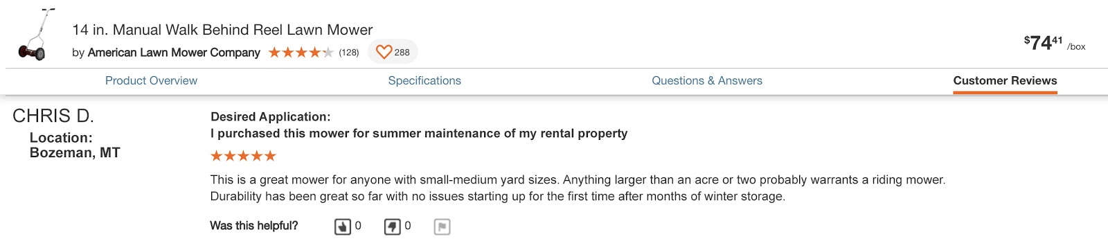 Example of a review that is good