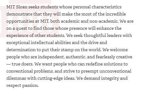 Who MIT sloan is looking for