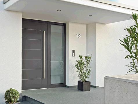 porte entrée aluminium gris anthracite