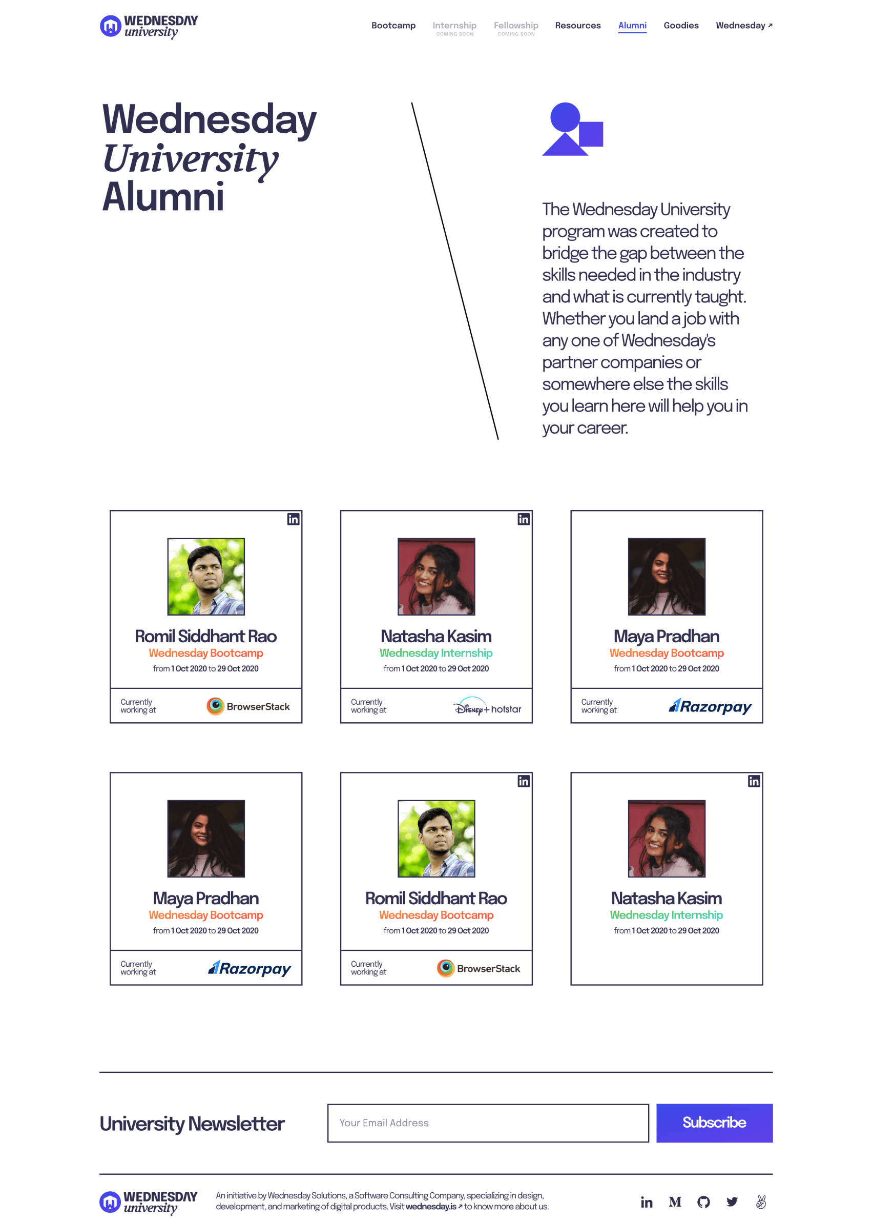 Desktop design that celebrates the alumni of Wednesday University