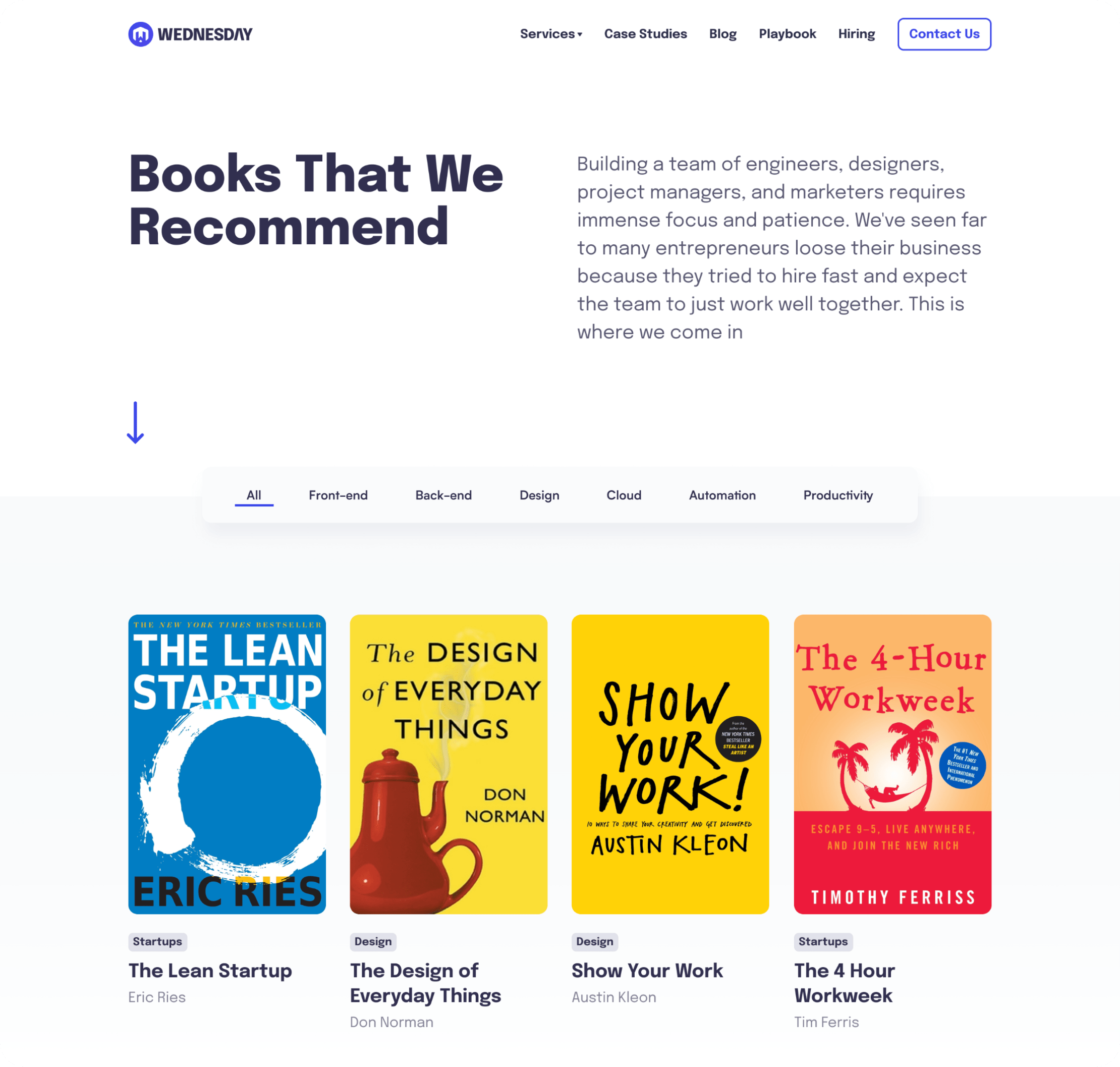 The Wednesday Library - A desktop design for that shows a list of books that we have at our office.