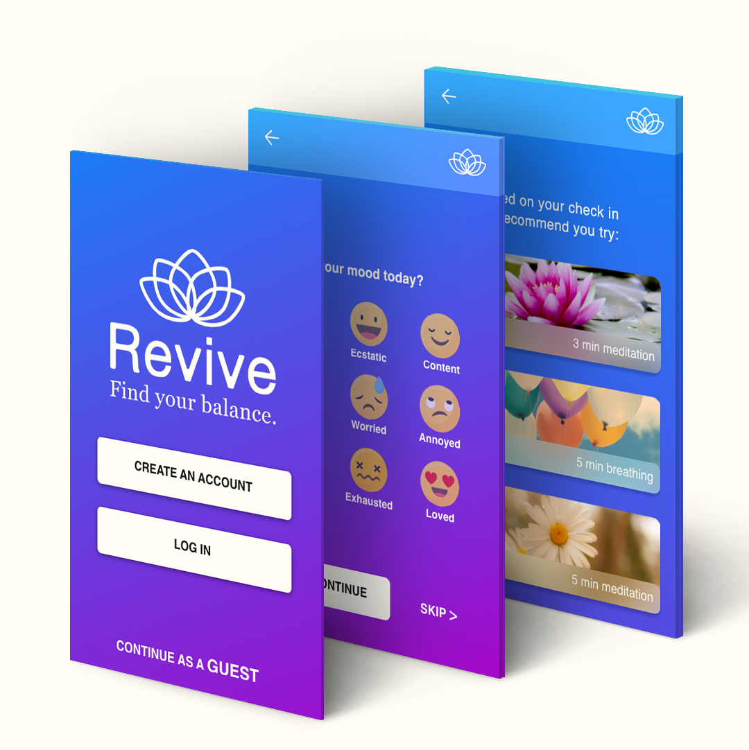 three detailed screens mock up of revive mindful app