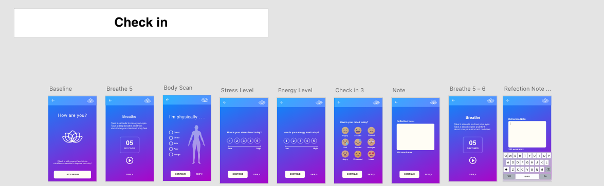 high fidelity screens of check in feature on mindful app