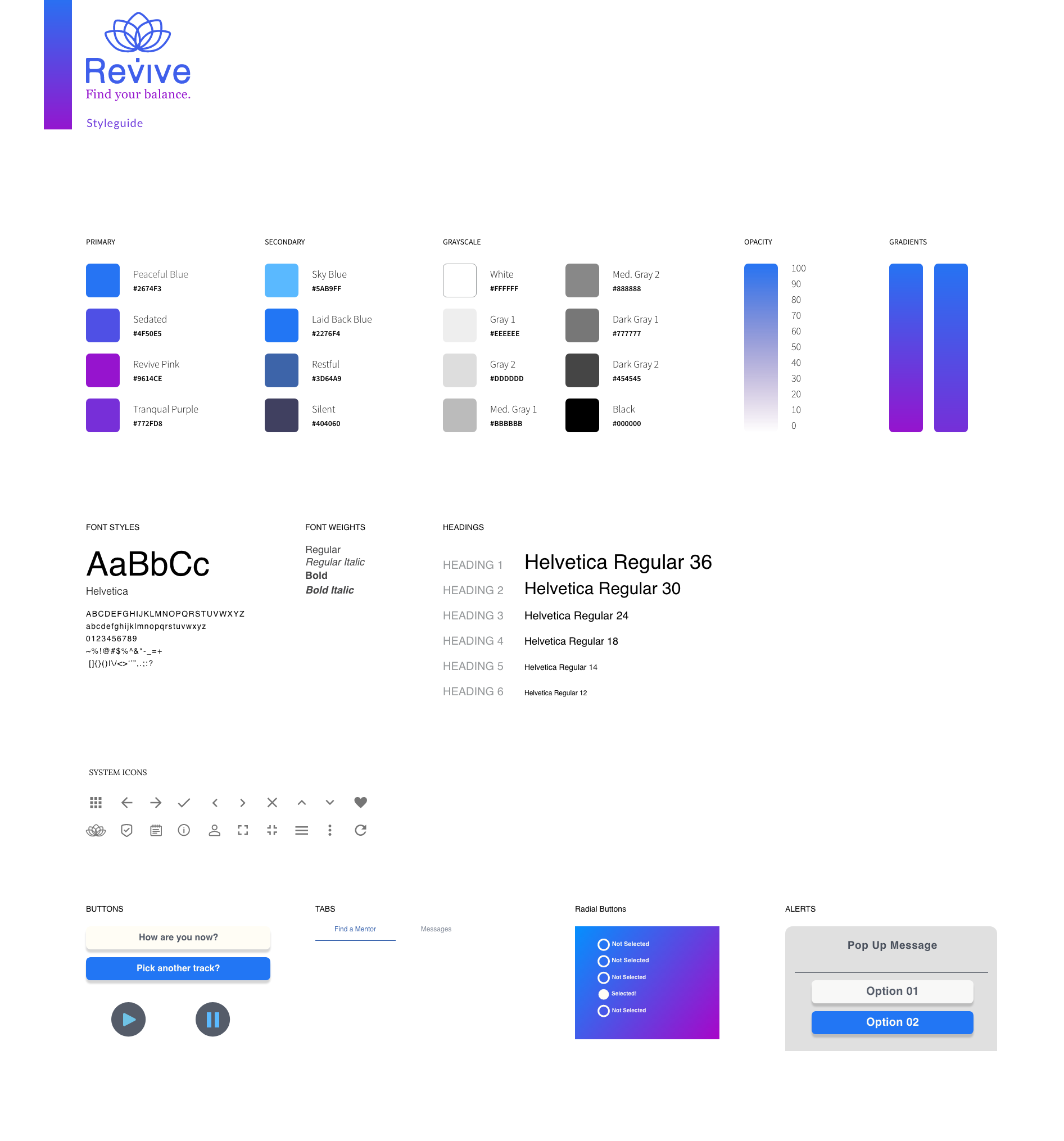 styleguide for revive a mindful app