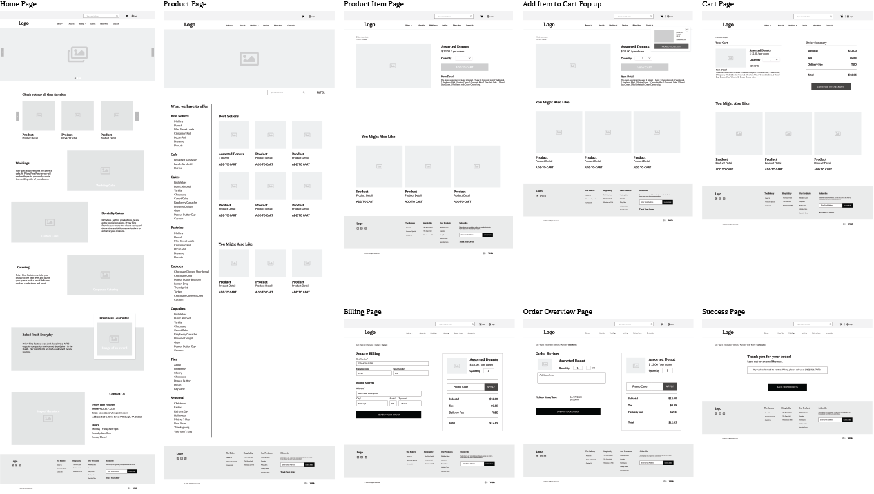 variety of wireframes for the different pages on the website