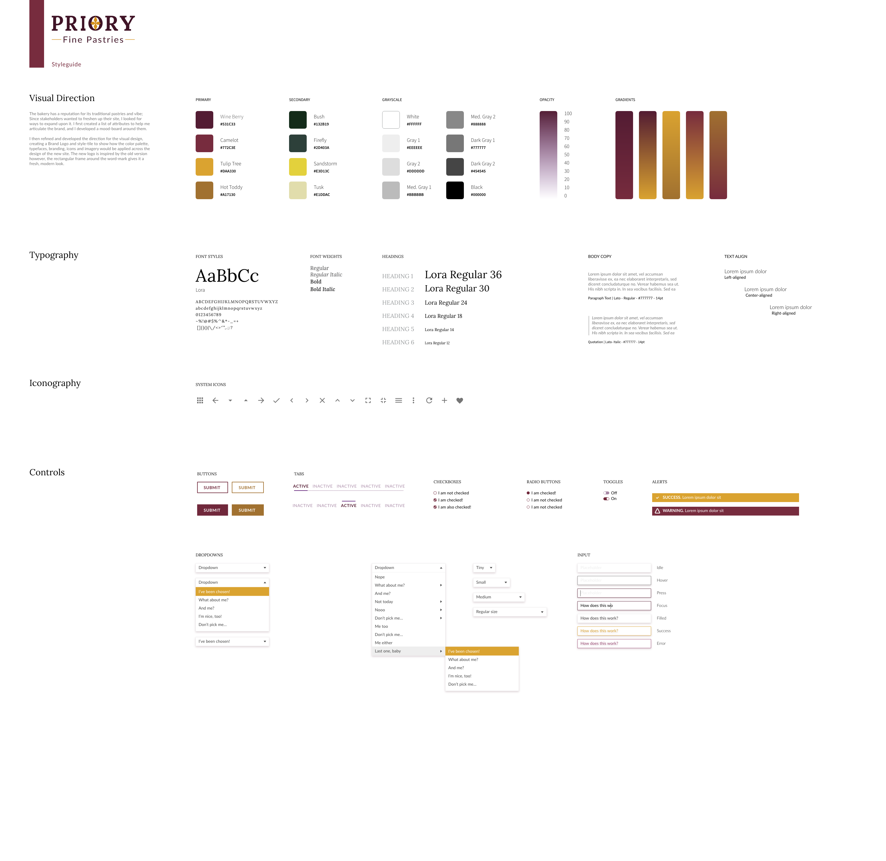styleguide for priory fine pastries