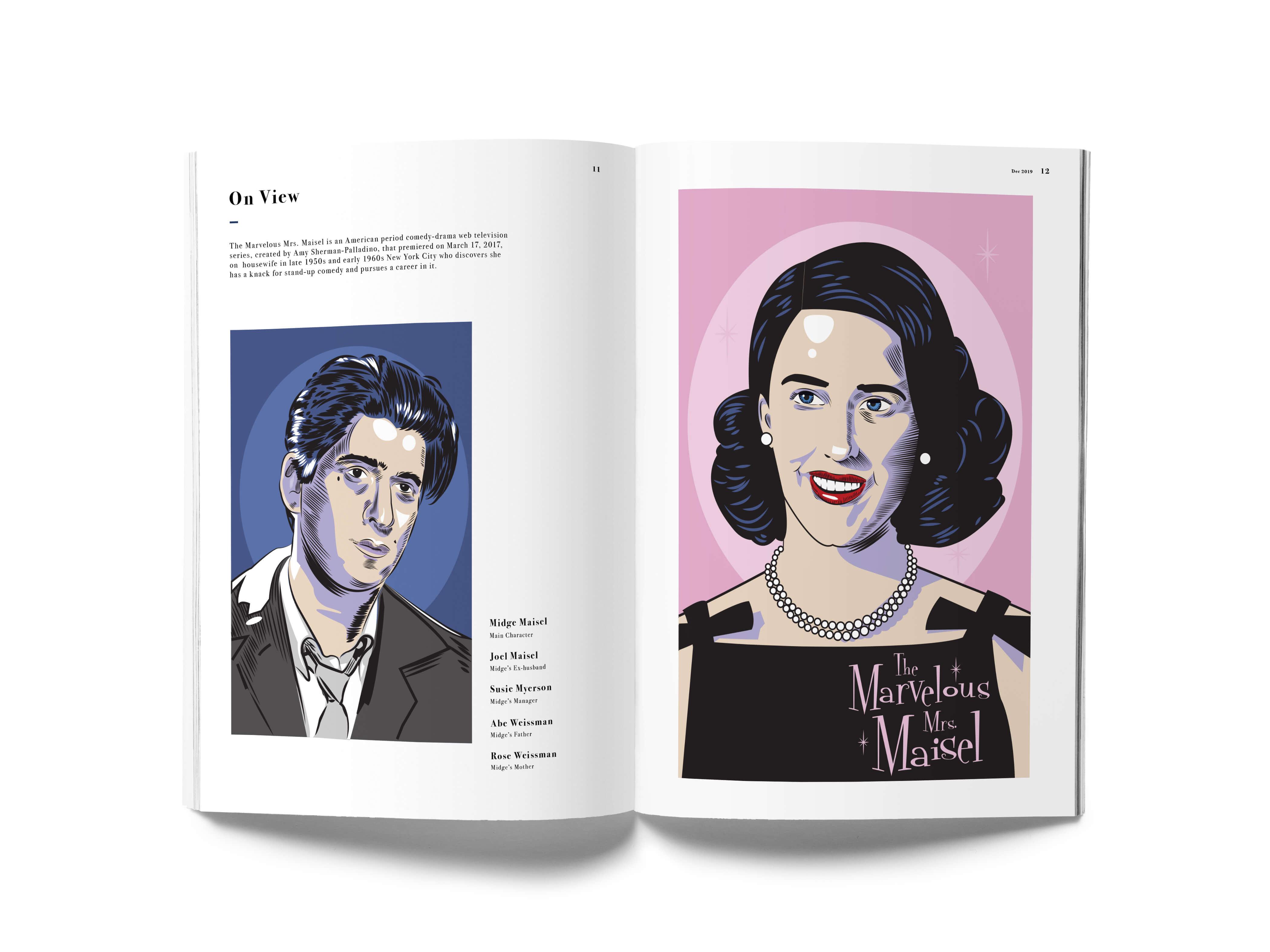T.V show Marvelous Mr. Maisel portrait illustration mocked up in a magazine