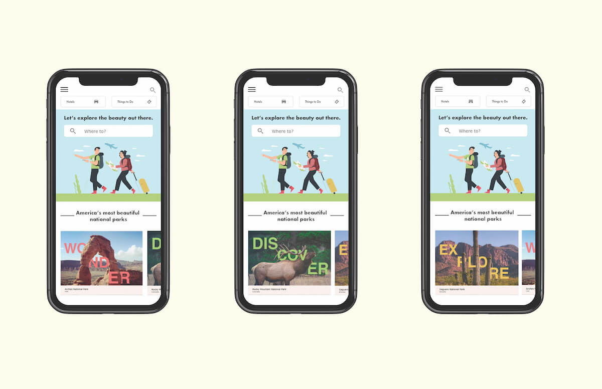 campaign cards in use on a travel website