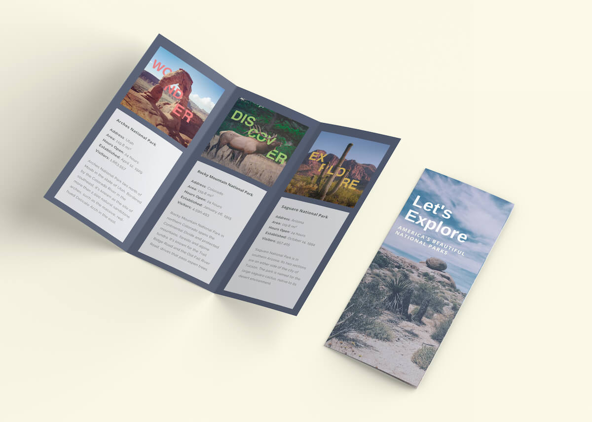 Brochure showcasing different national parks in the campaign