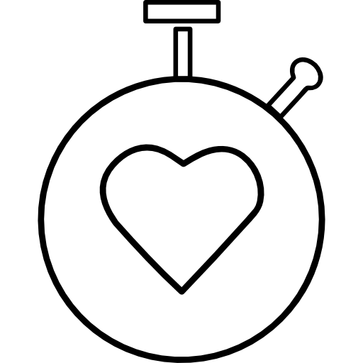 This is a vectorized image of a stop watch with a heart in the middle of it.