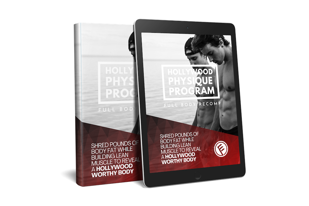 This is a picture of the Hollywood Physique Program workout program cover on an iPad and Book.