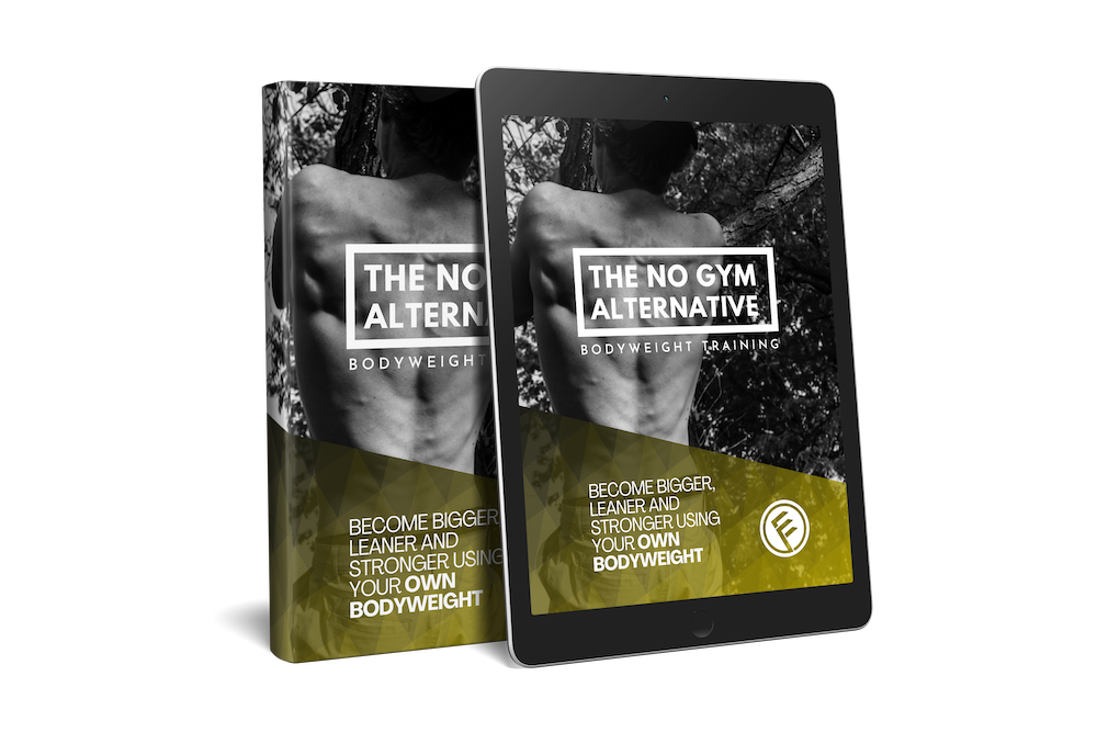 This is a picture of the No Gym Alternative workout program cover on an iPad and Book.