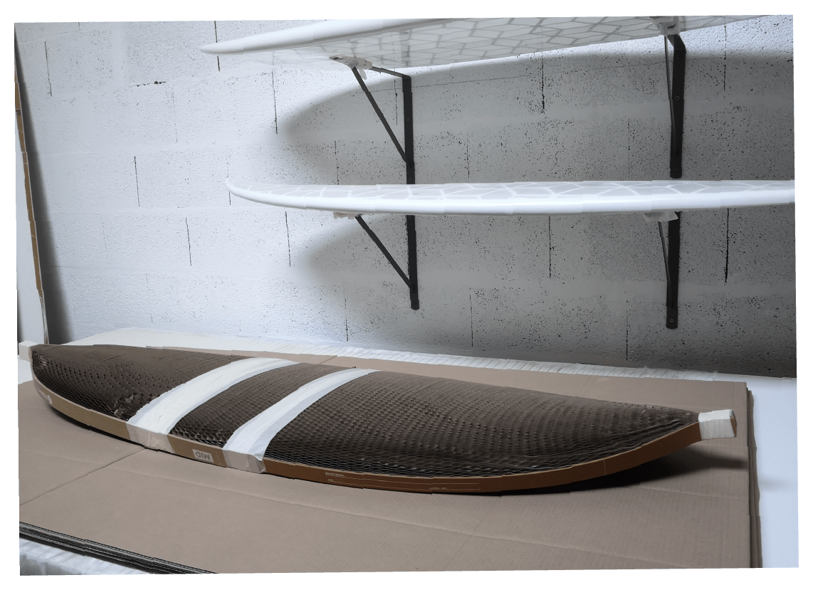 cardboard eco-packaging for WYVE eco-surfboards
