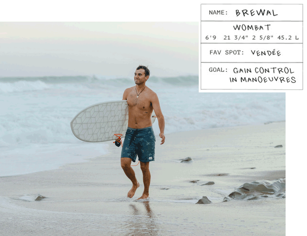 male surfer walking on beach with Wyve custom 3D-printed surfboard with hybrid shape