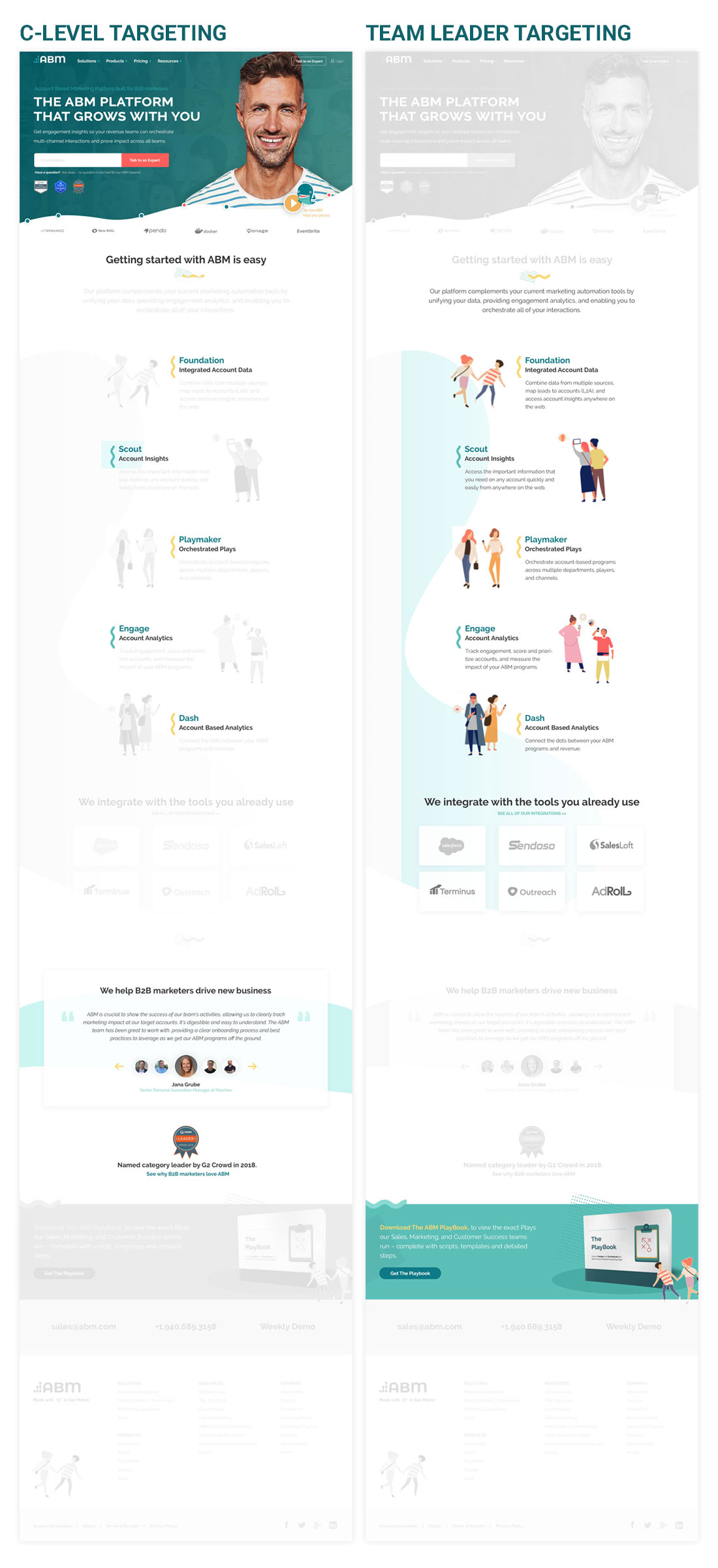 target multiple personas on a single page