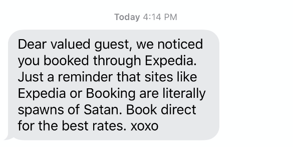 sarcastic message about Expedia