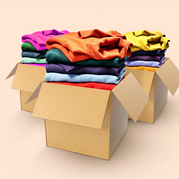 boxes of clothes