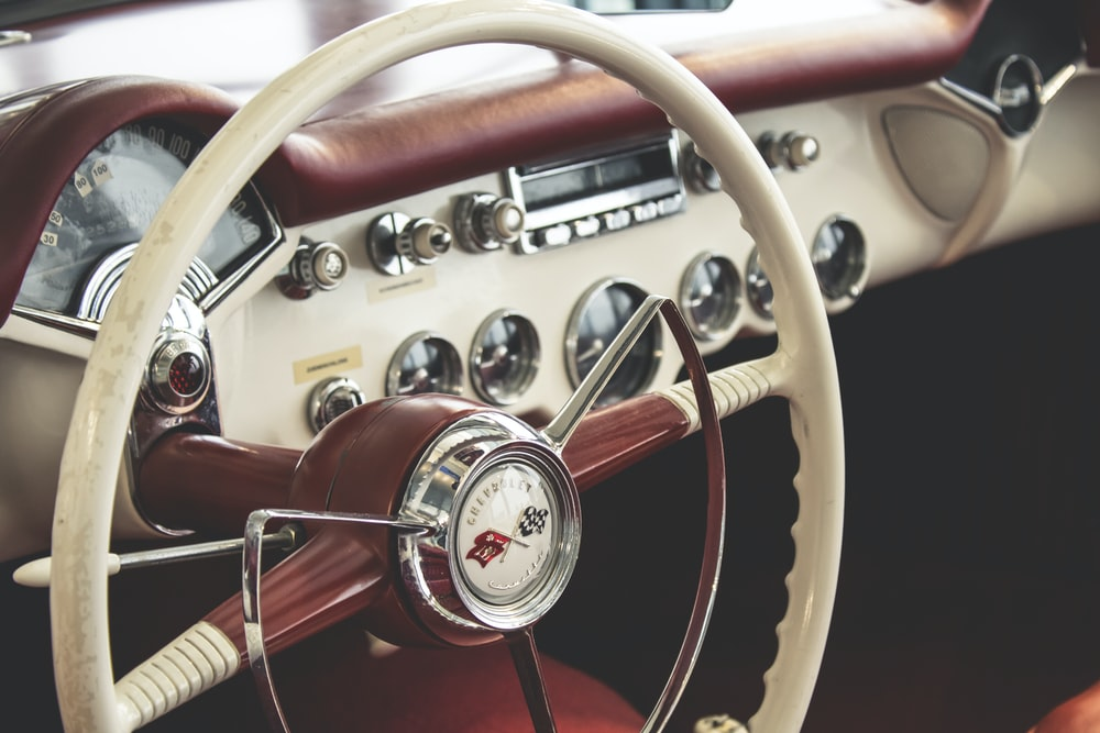 the interior of an older car