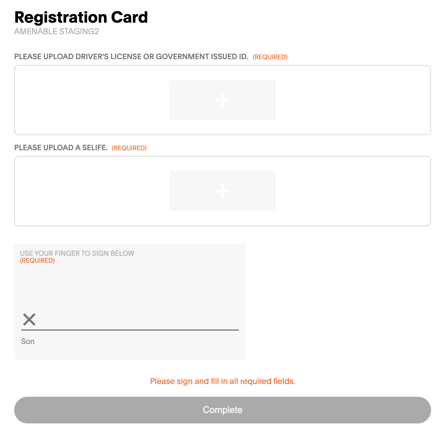 new inputs on the digital registration card to allow for multiple image uploads