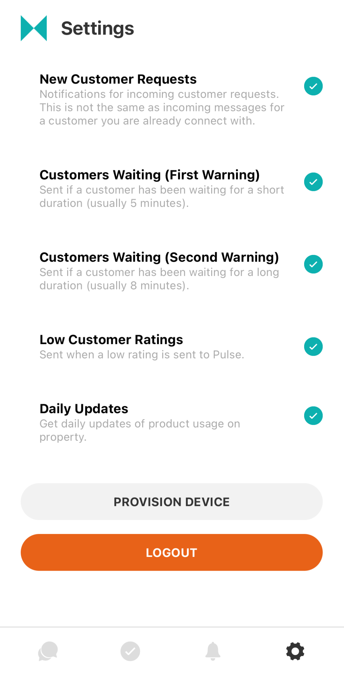 provision device button moved to the settings tab