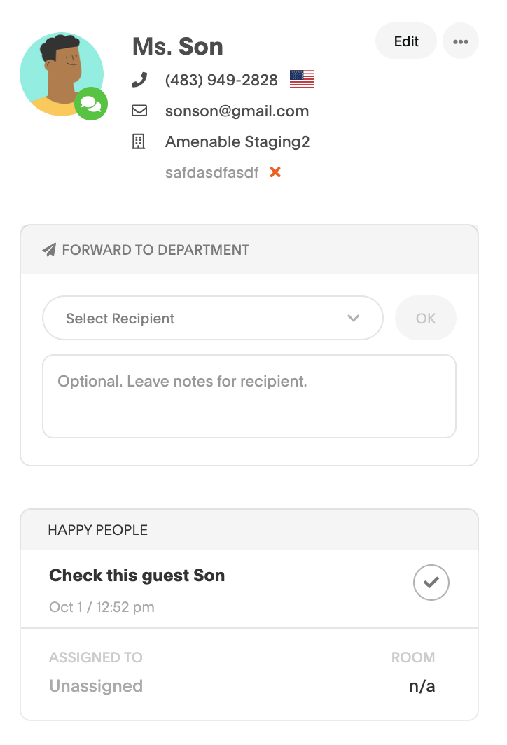 Workflow notifying staff on a guest's page