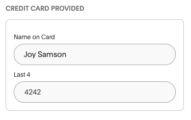 Akia's ability to save the last four digits of a guest's credit card number