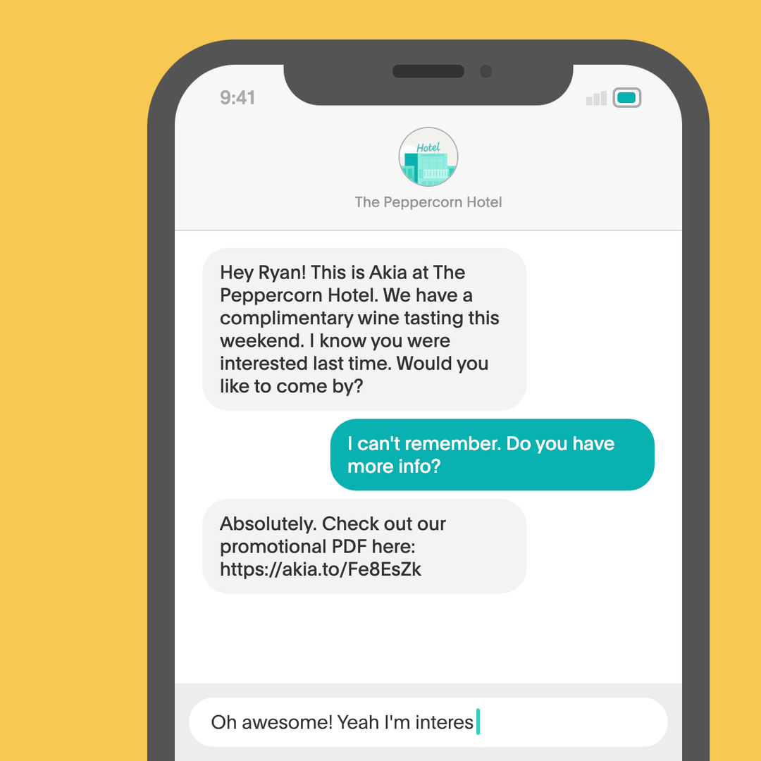 SMS remarketing sample message