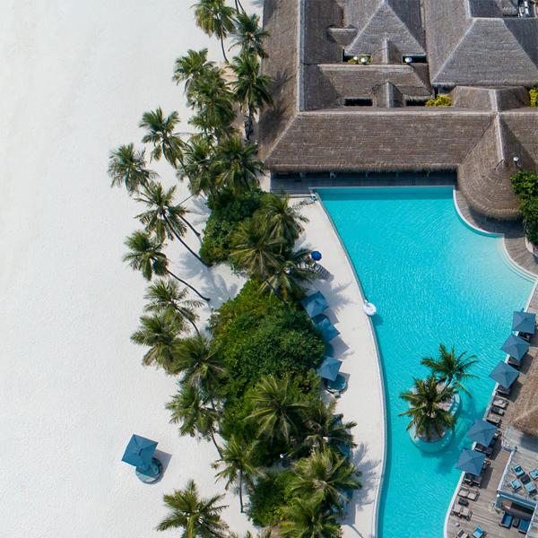 birds-eye view of a hotel pool