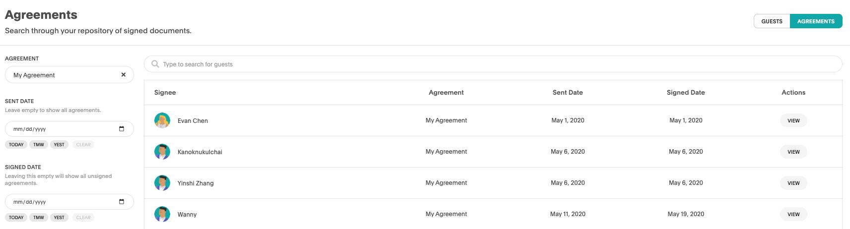 Akia agreements view