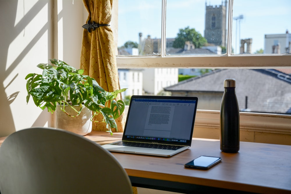 laptop and water bottle on a desk next to a plant