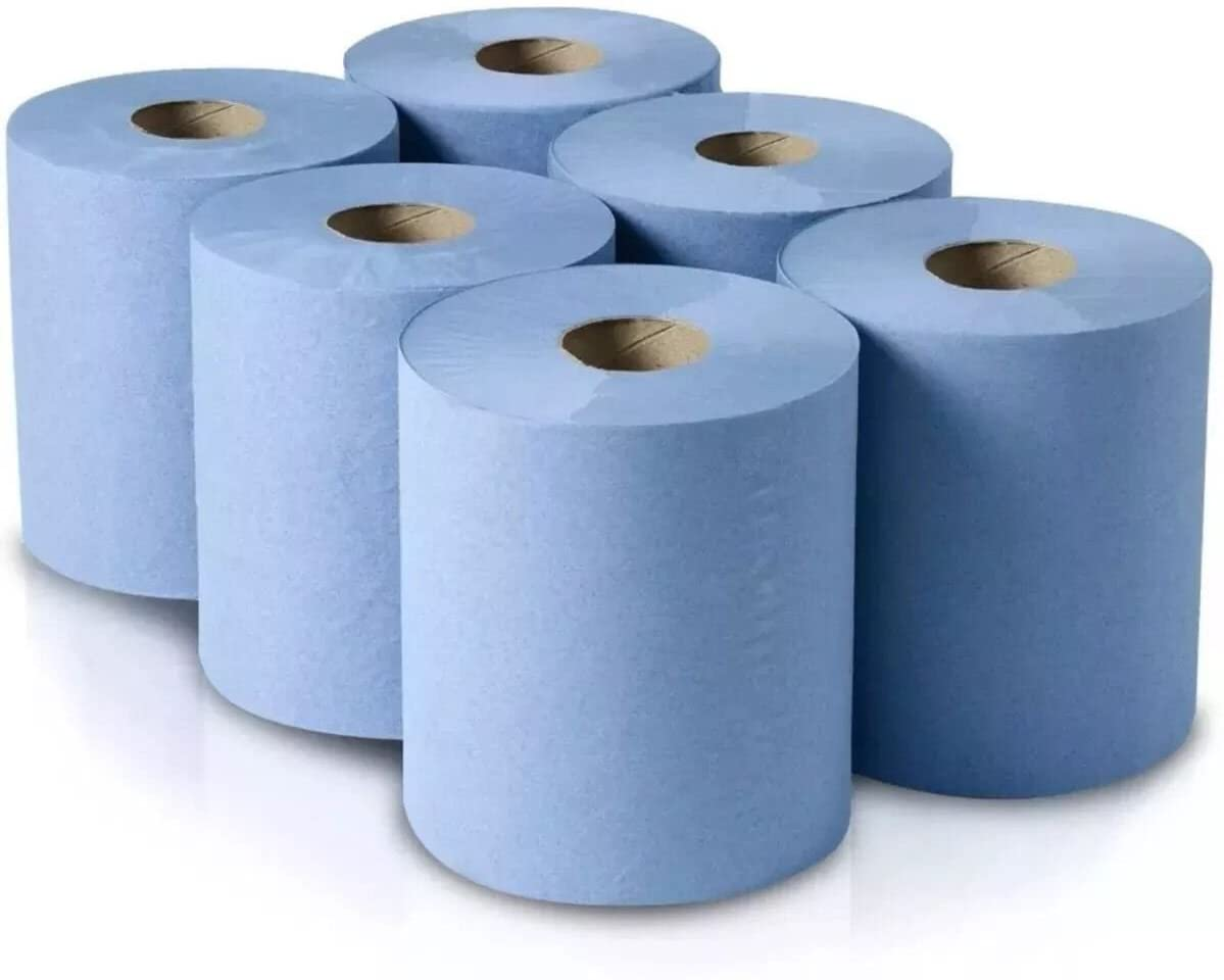 2 Ply Blue 100m 175mm Centre Feed - Embossed