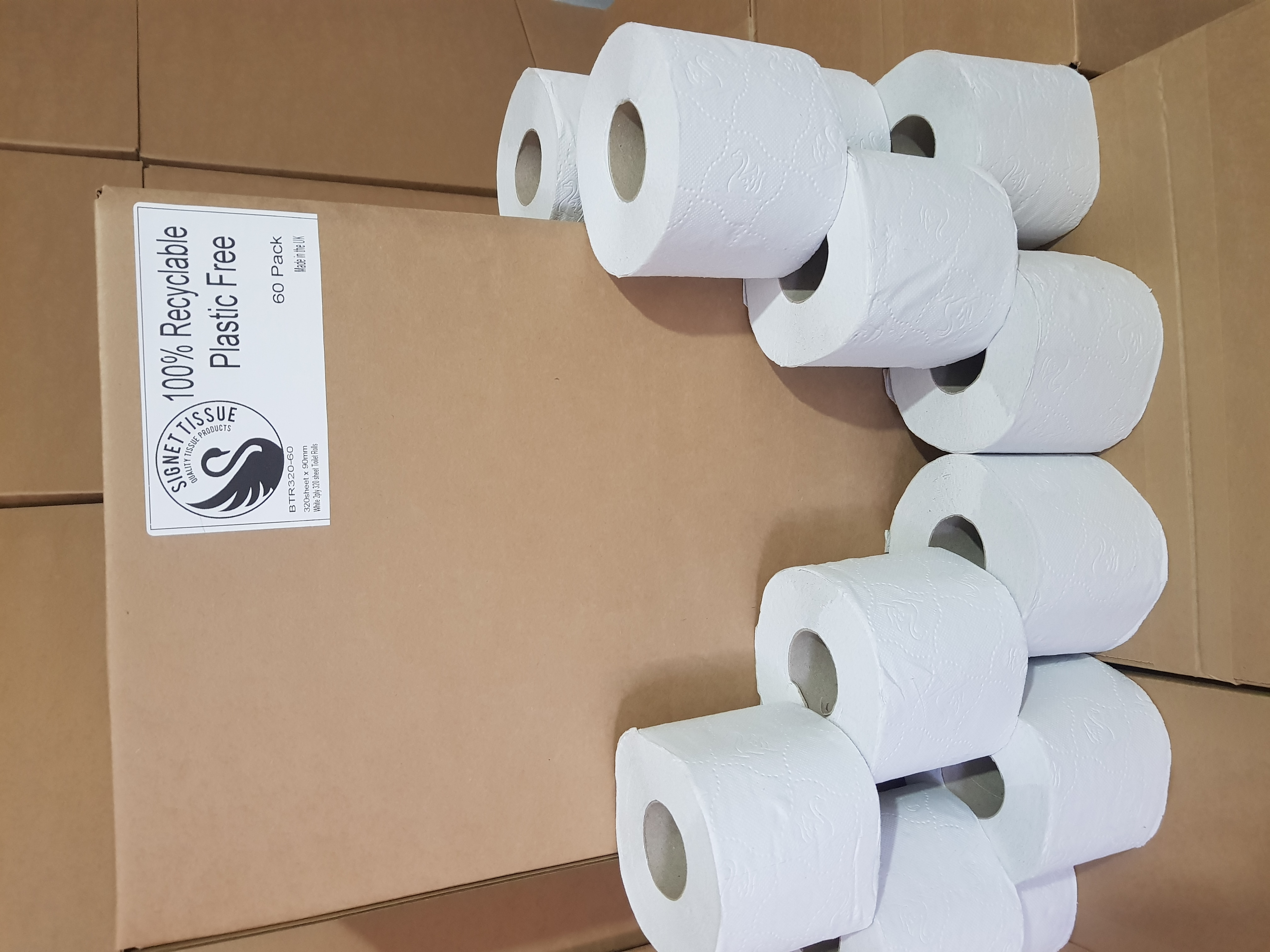 100% recyclable, No Plastic used, recycled tissue, 60 rolls per box