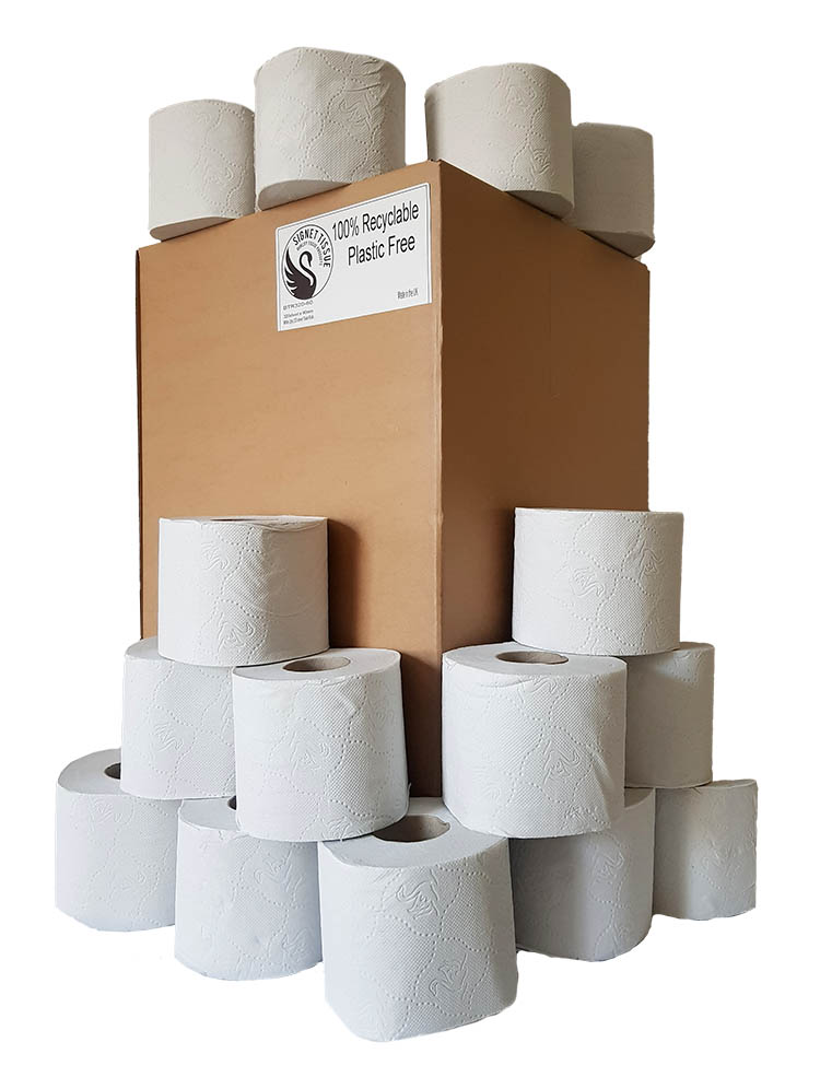 100% recyclable, No Plastic used, 60 roll of Pure pulp Tissue