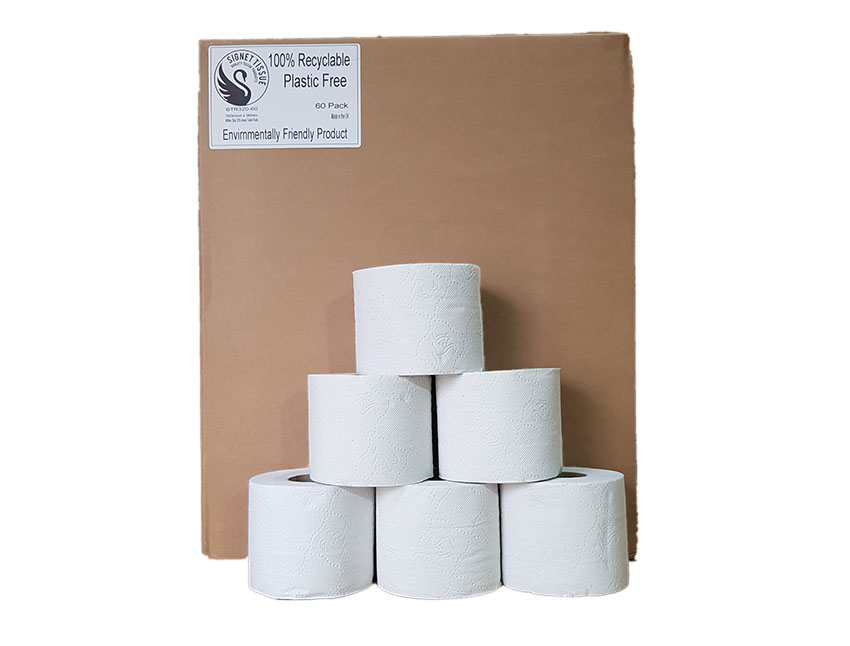 100% recyclable, No Plastic used, 45 roll of Pure Tissue
