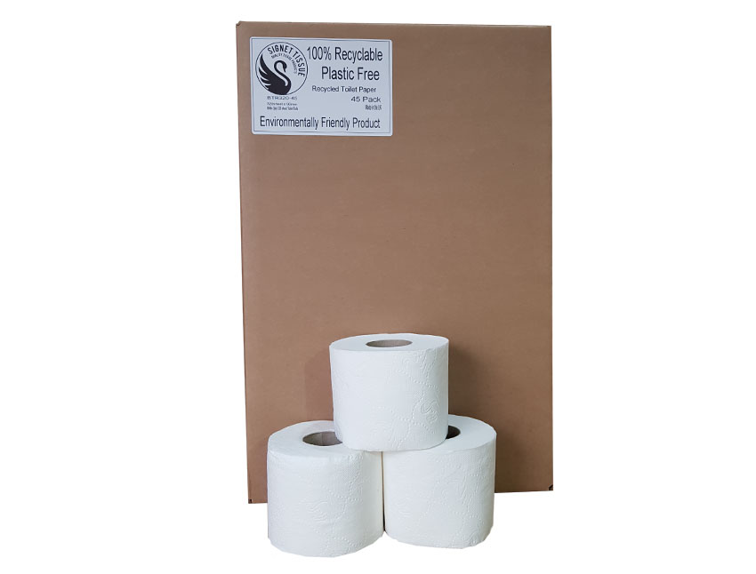 No Plastic used,100% recyclable Boxed Toilet rolls 45 rolls