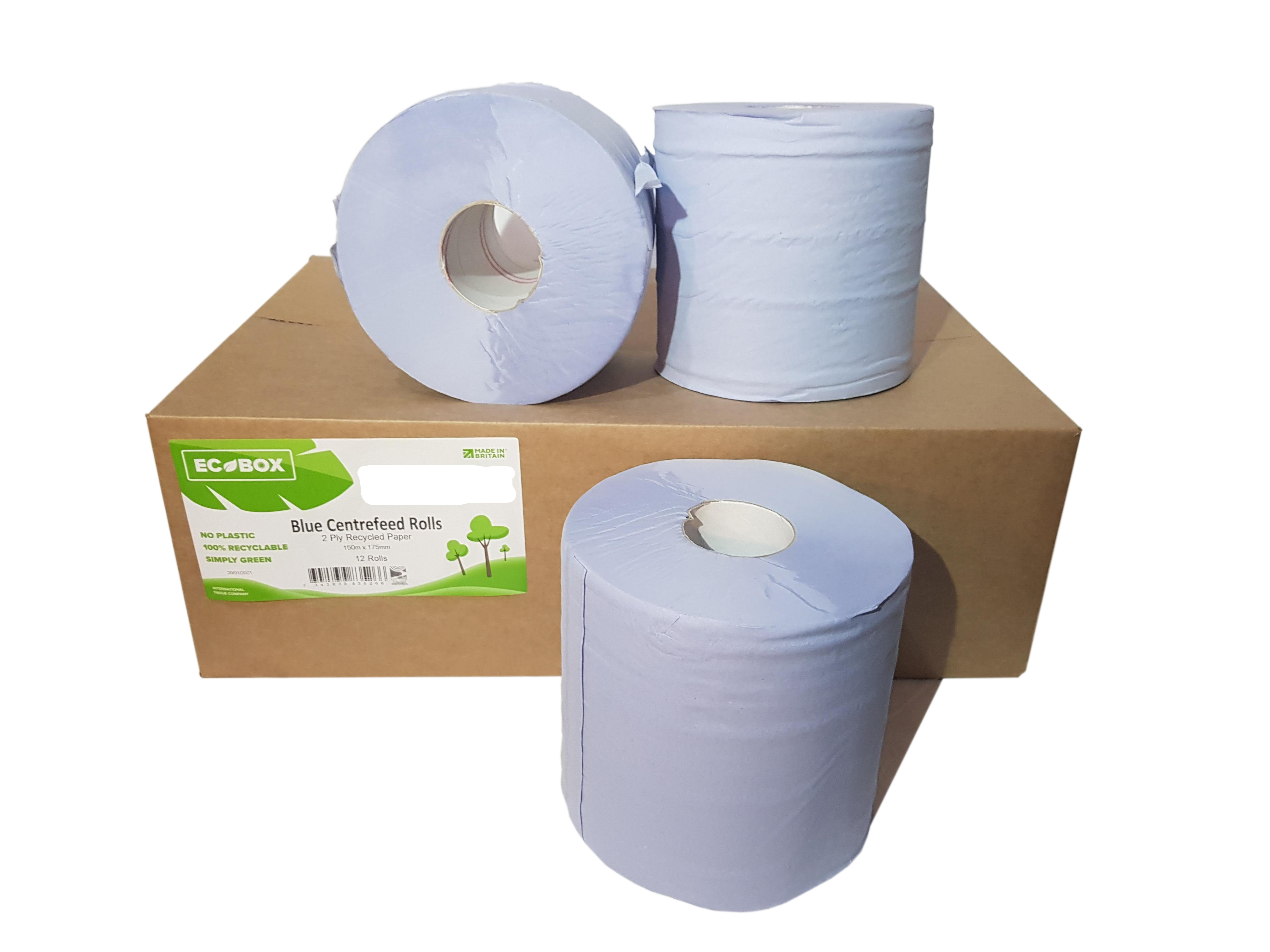2 Ply Blue 150m 175mm Centrefeed-Flat Sheet x 6 Rolls