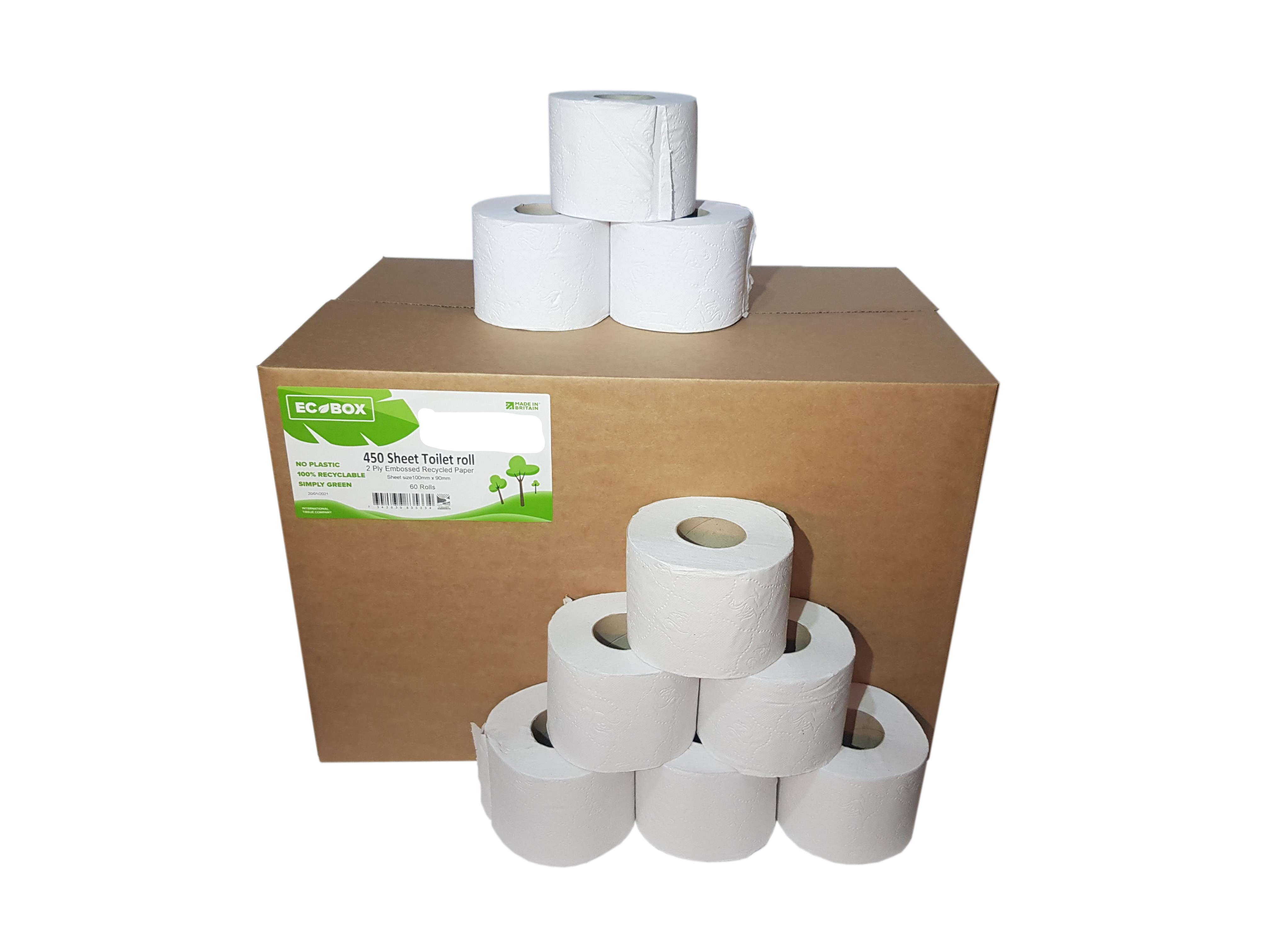 Boxed 450 Sheet x 60 Recycled Toilet Tissue Rolls