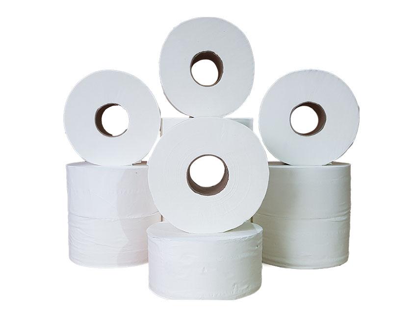 Mini Jumbo Toilet Rolls 200m (60mm Core) Pure Pulp x 12 rolls